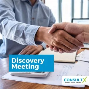 "Photo of a handshake with ""Discovery Meeting"" title"