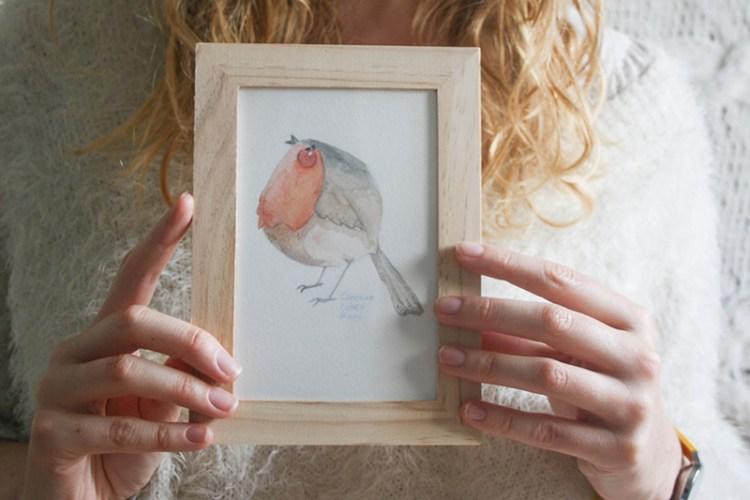 rouge-gorge aquarelle à gagner
