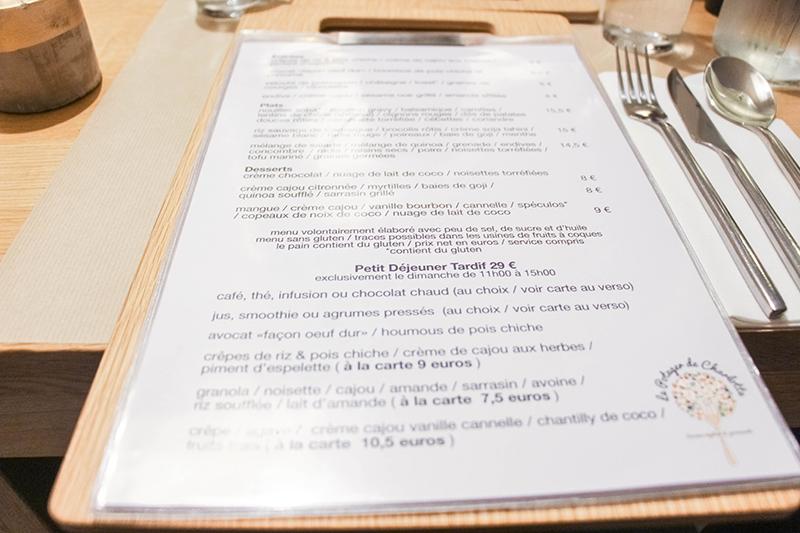 carte restaurant potager de charlotte vegan