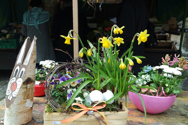 Huevos, conejos y flores en Rothenburg