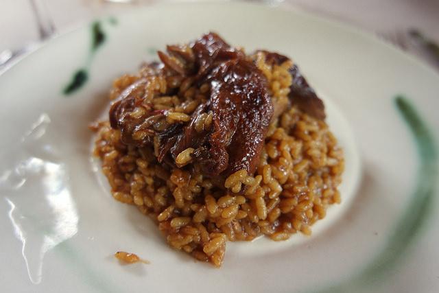 Arroz con pitu calella, La Salgar, comer en Gijón