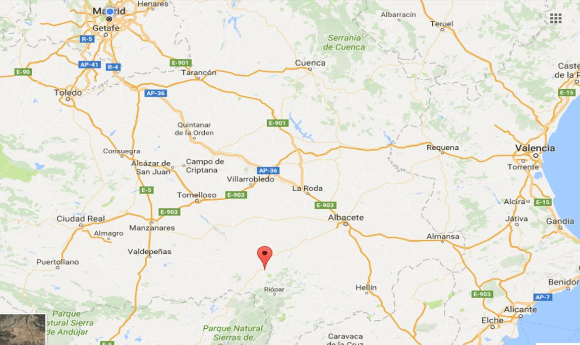 Sierra de Alcaraz, fuente: googlemaps