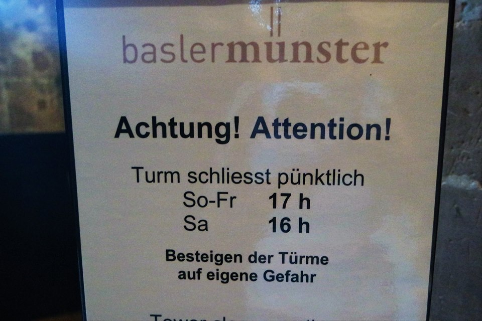 Cartel, horario catedral del Basilea