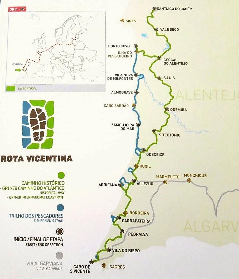 Mapa de la Ruta Vicentina, Portugal