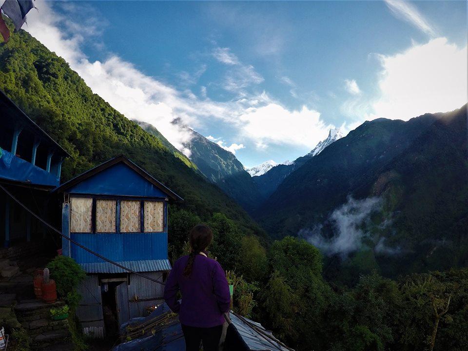 Vistas al Machapuchre, trekking al Campo Base del Annapurna