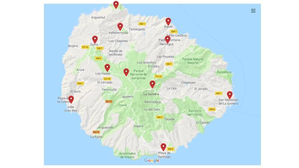 Mapa de La Gomera, ruta en coche por La Gomera
