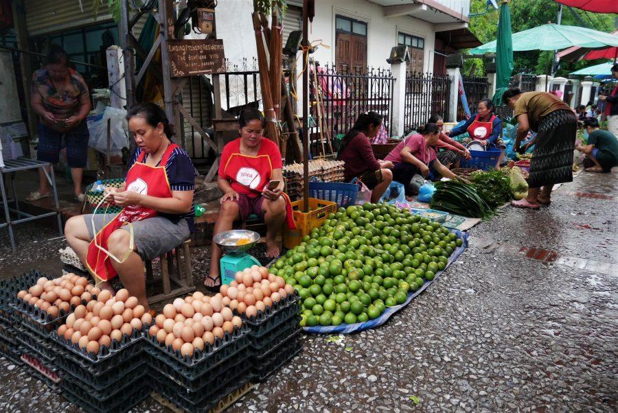 Vendedoras en el mercado diurno de Luang Prabang