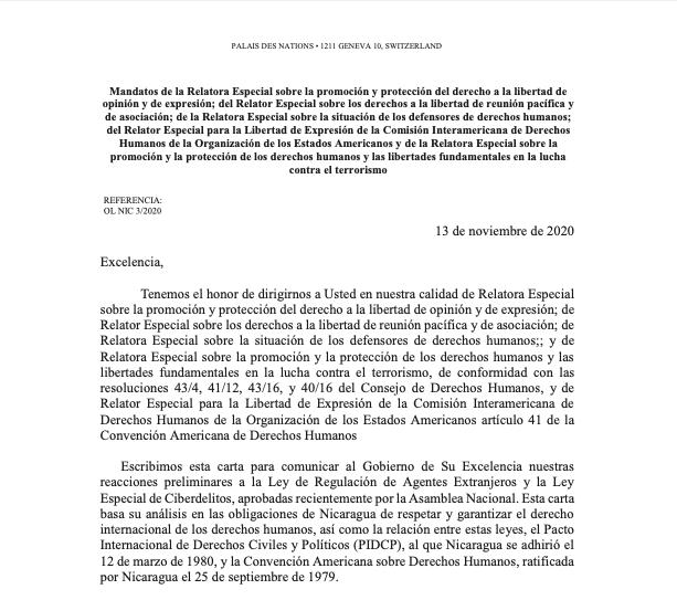Carta a Nicaragua que evidencia por qué las recién aprobadas leyes violan el Derecho Internacional