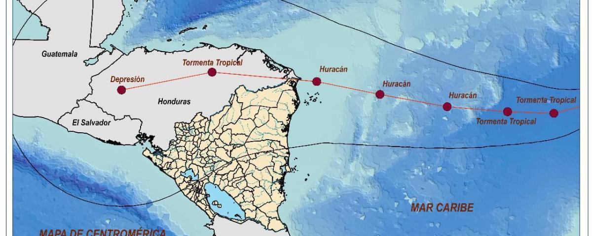 Cartografía de la trayectoria de la tormenta tropical Iota
