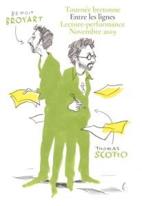 Benoît Broyart et Thomas Scotto sont en tournée avec Entre les lignes, lecture-performance à voix haute.