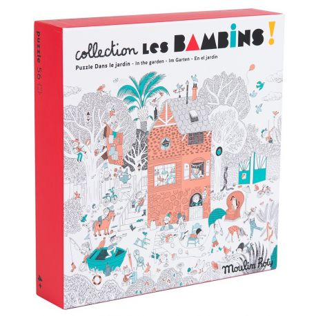 Puzzle Les bambins Dans le jardin, 56 pcs, Moulin Roty