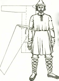 Man's basic dress in Ancient Rus', 10th – 13th centuries, and its construction. Illustration from History of Ukrainian Costume
