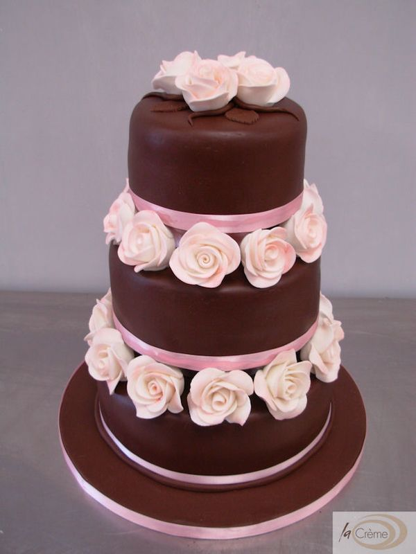 3 Tier Chocolate Wedding Cake With Pink Roses La Creme Patisserie Blog
