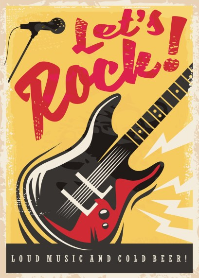 Rock music party retro poster design with electric guitar on grunge yellow background