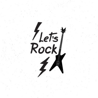 let's Rock music icon. Musical sign background. Rock lettering. Rock'n' roll logo. Design emblem