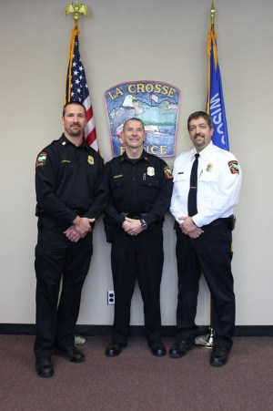 Assistant Chief Rob Abraham, Captain Troy Nedegaard, and Chief Ron Tischer