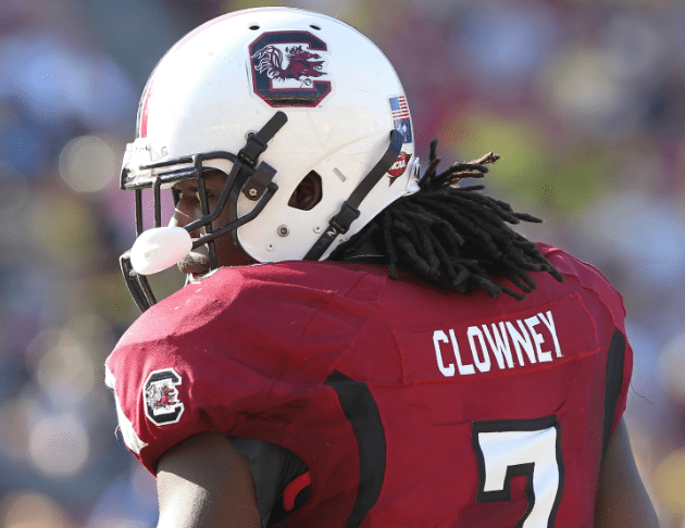 January 1,2013; Tampa, FL, USA; South Carolina Gamecocks defensive end Jadeveon Clowney (7) against the Michigan Wolverines during the second half of the 2013 Outback Bowl at Raymond James Stadium. South Carolina Gamecocks defeated the Michigan Wolverines 33-28. Mandatory Credit: Kim Klement-USA TODAY Sports