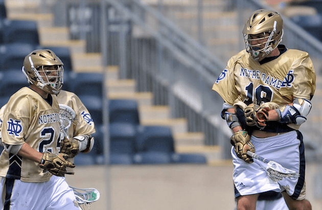 May 20, 2012; Chester, PA USA; Notre Dame Fighting Irish attack Sean Rogers (18) celebrates his goal with teammate Eric Keppeler (24) during the second half of the NCAA Division I Men's Lacrosse Quarterfinals against the Virginia Cavaliers at PPL Park. The Fighting Irish won 12-10. Mandatory Credit: Eric Hartline-USA TODAY Sports