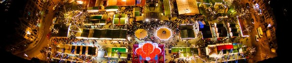 Ariel view of the Christmas Markets