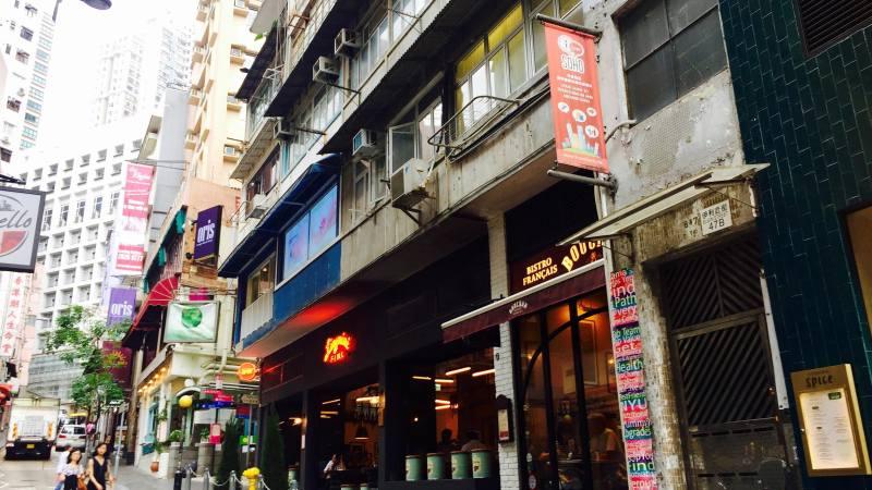 Central Elgin Street next to Soho Escalator hot spots for restaurants bars