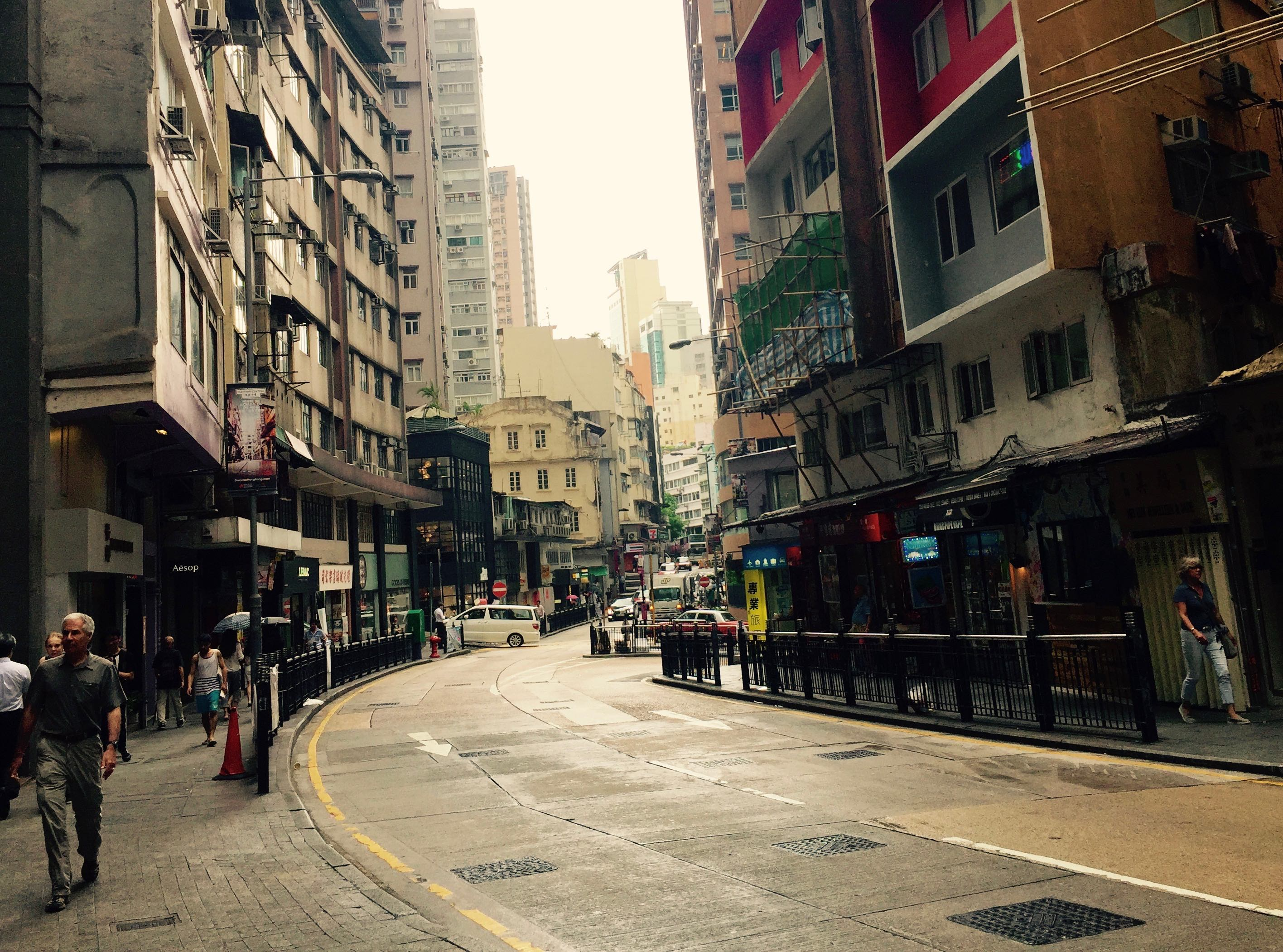 Hollywood Road Central extending from core CBD Hong Kong to Sheung Wan