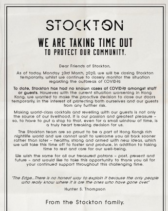 Stockton, a bar in Central, announced to close temporarily shortly after the ban on liquor sales