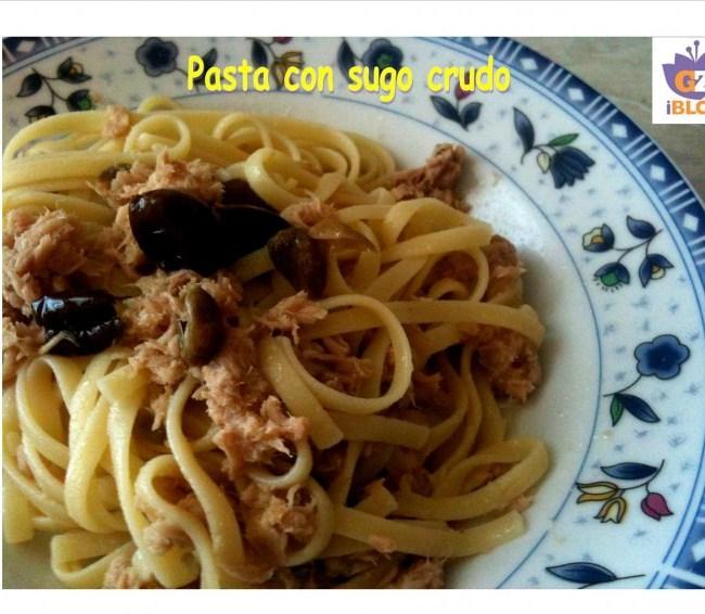 pasta, olive, capperi, tonno, past sugo crudo