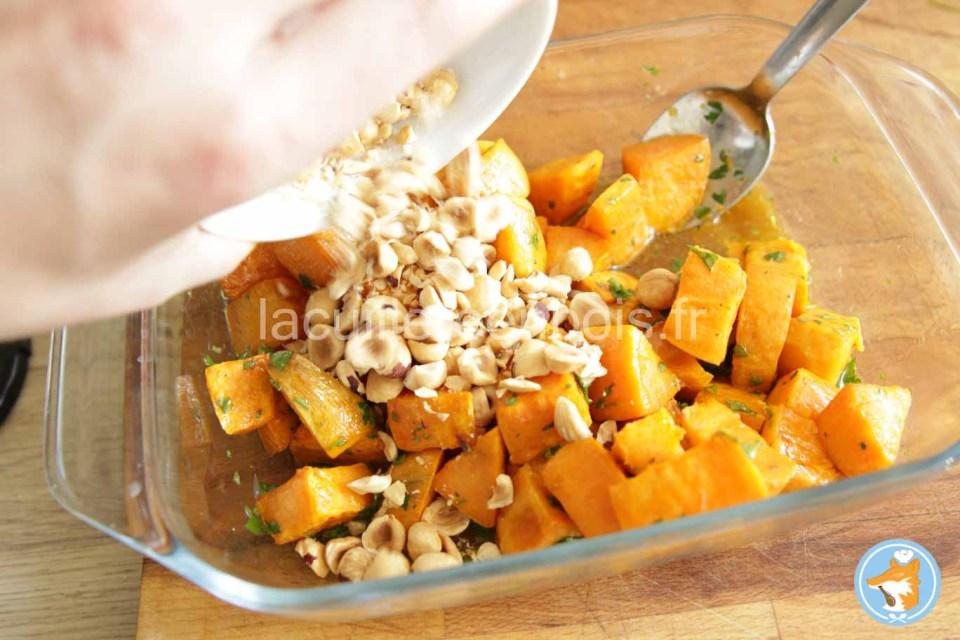 finalisation de la salade de patates douces