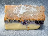 Gâteau magique vanille myrtilles