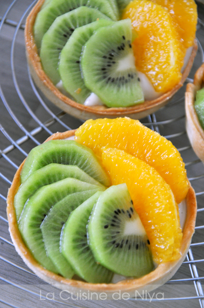 La Cuisine de Niya - Tartelettes kiwi orange - crème pâtissière végane #vegan