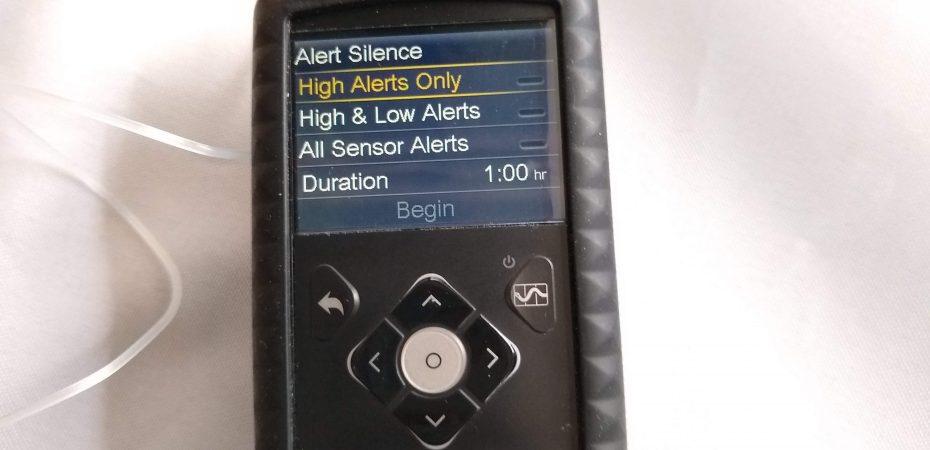 Medtronic 670G Insulin Pump showing alert silence options
