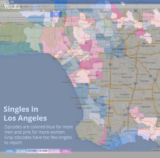 Los Angeles Singles Map