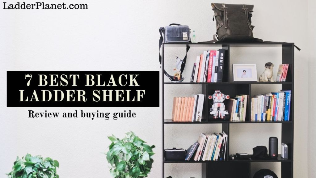 black ladder shelves