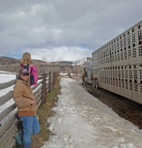 Meghan and Maeve meet the trucks