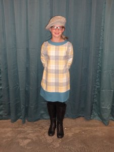 Siobhan models her wool outfit (Mom's boots, Grandma  Laura's earrings, Grandma Sharon's hair clasp, Siobhan's smile)