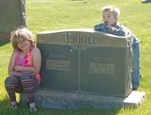 Maeve and Tiarnan with the graves of Great-great-great Grandpa Charles Terrill and Great-great-great Grandma Telitha Terrill