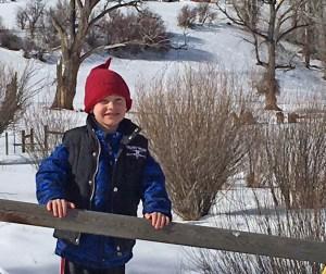 Tiarnan on a snowy day