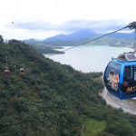 Superb view ! Enjoy the beautiful azure color lake seen from the air in the Sun Moon Lake Ropeway panoramic !