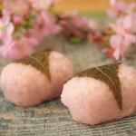 「桜餅と春色ネイル」春が近付き、益々花より団子な今日この頃