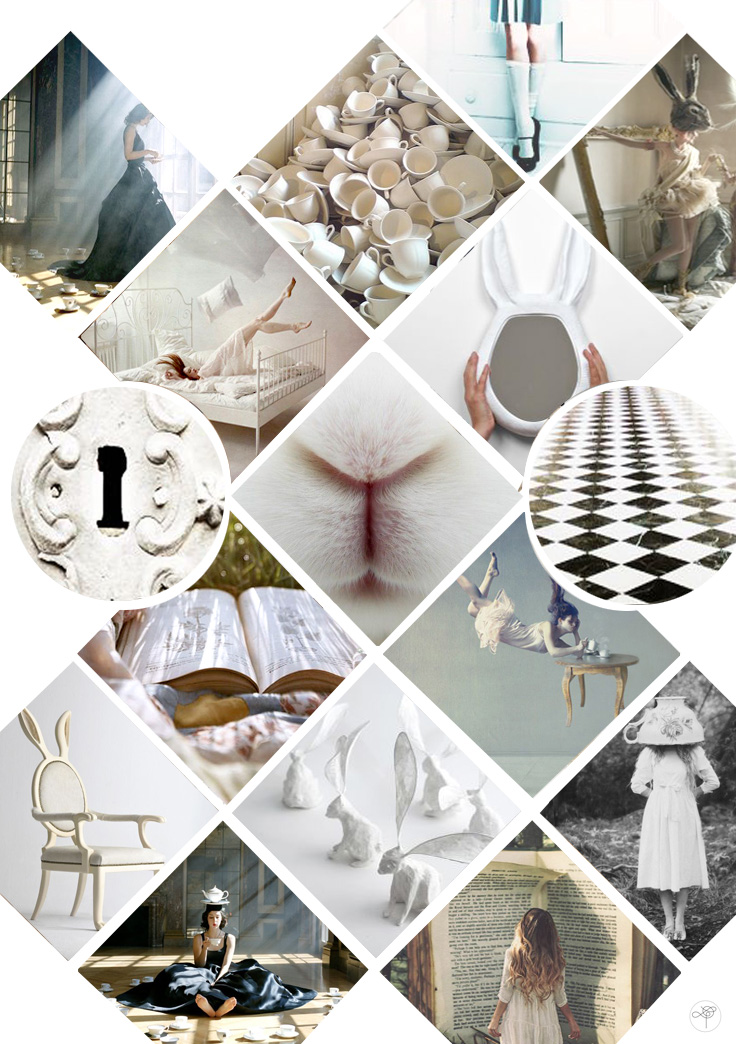 mood board alice in wonderland