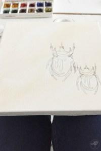 insectes dessins DIY tableau cabinet de curiosité