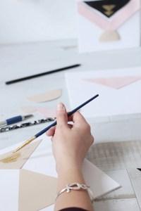 peinture dorée DIY tableaux géometriques