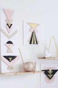 DIY tableaux géometriques dorés