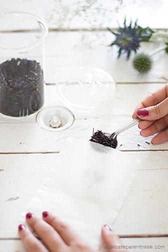 Sachets de thé fleuri creation main de thé pour l'automne