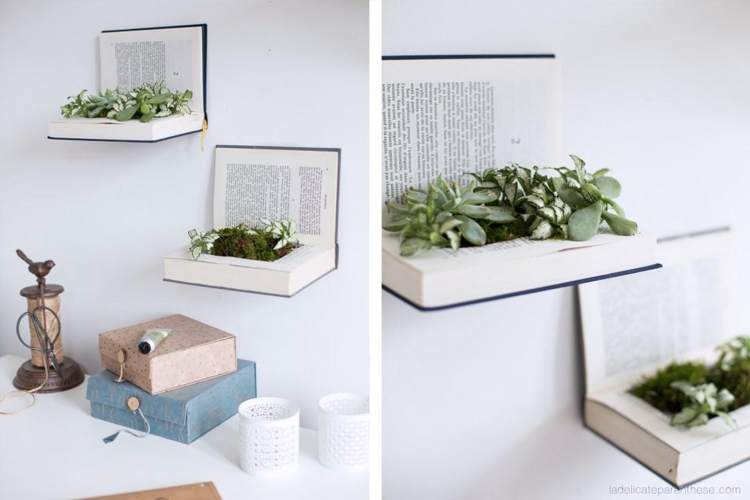 Etagères végétales en recyclant un livre DIY blog déco