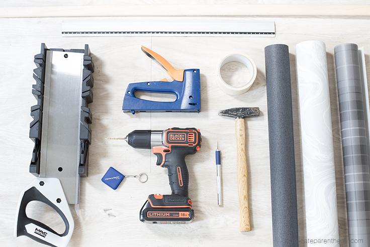Création support magazine à suspendre au mur DIY blog, outils nécessaires
