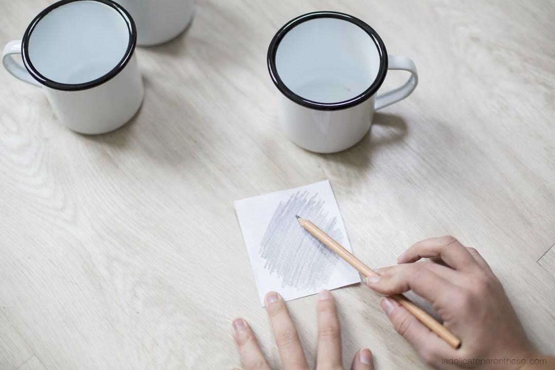 Création DIY mug émaillé coloriage et transfert de motif