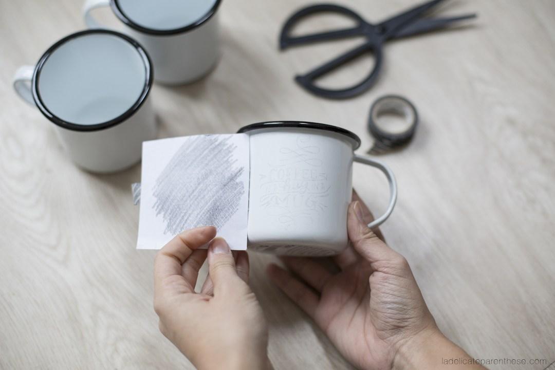 transfert de motifs sur mug en émail DIY et création blog déco