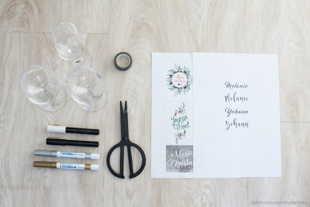 outils DIY création verres marques places inspiration IKEA HACK POUR noel