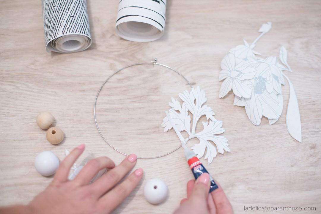 Couronne de fleur de papier peint pour noel